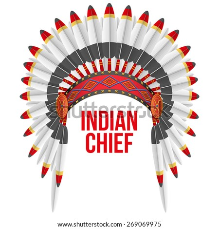 Indian chief hat with plumage. Front view. Illustration Isolated on white background. - stock photo