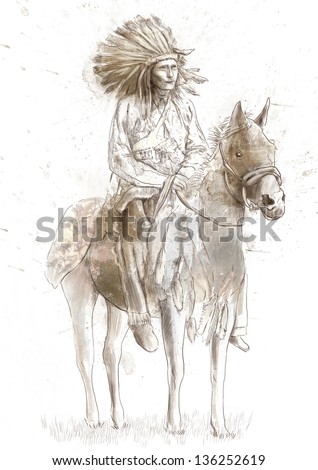 Indian chief sitting on a horse. /// A hand drawn illustration. - stock photo