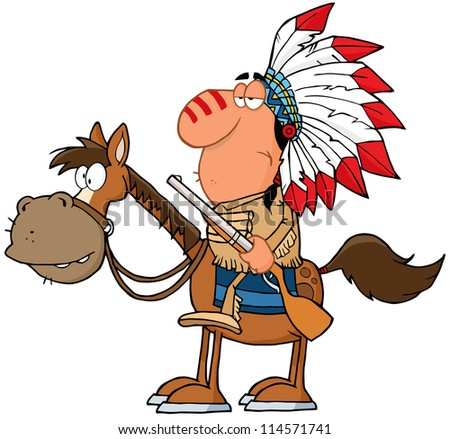 Indian Chief With Gun On Horse. Raster Illustration.Vector version also available in portfolio. - stock photo
