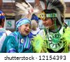 Indian children on parade float, 	Calgary Stampede Parade	Calgary	Alberta - stock photo