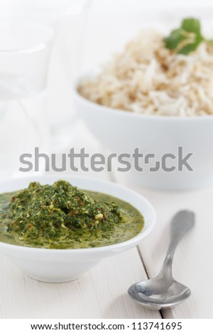 Indian cilantro chutney with rice. - stock photo
