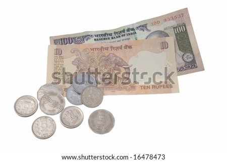 Indian coins and banknotes isolated on white background - stock photo