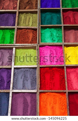 Indian color powder as a beauty background - stock photo