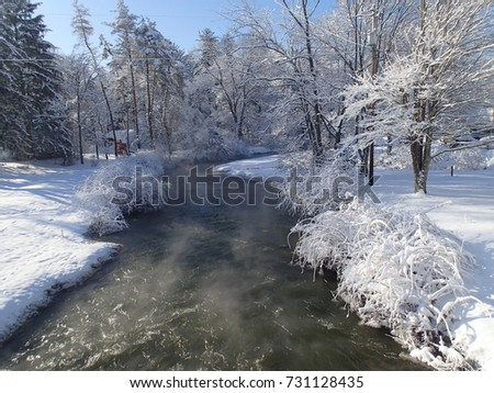 Indian Creek in Pennsylvania Steaming in Fresh Winter Snow Coverage