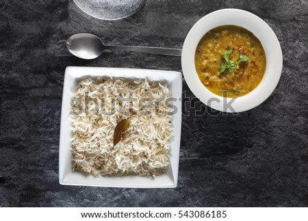 Indian cuisine cumin rice with yellow dal or dahl