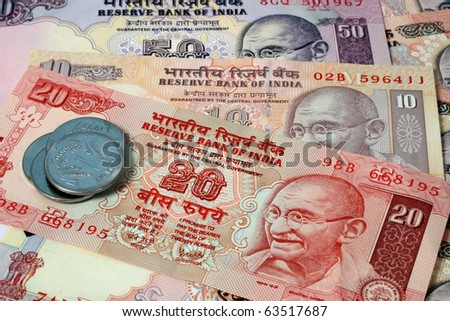 Indian Currency Banknotes and coins - stock photo