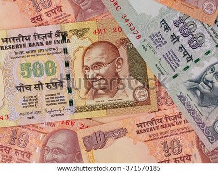 Indian currency banknotes business background, India economy finance business, money closeup - stock photo