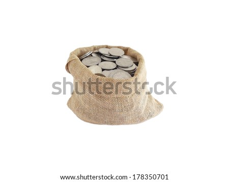 Indian currency coins in a bag - stock photo
