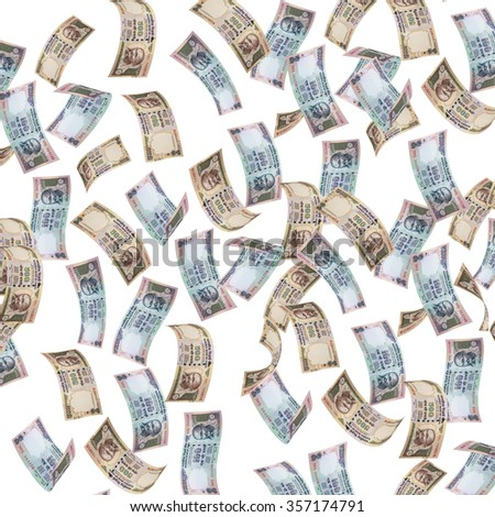 indian currency falling, indian rupee notes falling, indian currency notes flying, flying indian rupee notes - stock photo