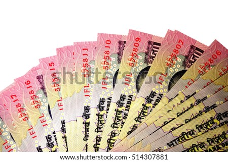 Indian currency in white background