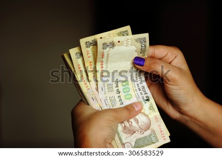 Indian currency notes - stock photo