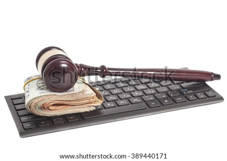 Indian Currency Rupee Notes and Law Gavel on computer keyboard isolated on white - stock photo