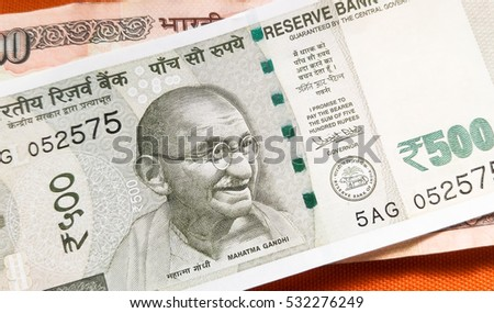 Indian Currency, with new 500 Indian rupee currency, published on November 9.