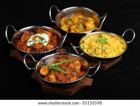 Indian curries with pilau rice.