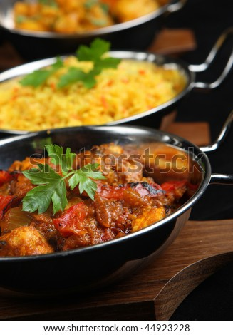 Indian curry dishes. - stock photo