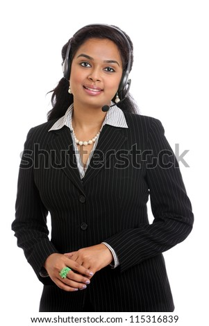Indian Customer service operator woman with headset, isolated on white background.