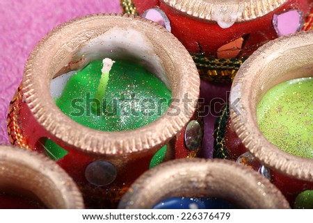 indian decorative candle pot for traditional festival - stock photo