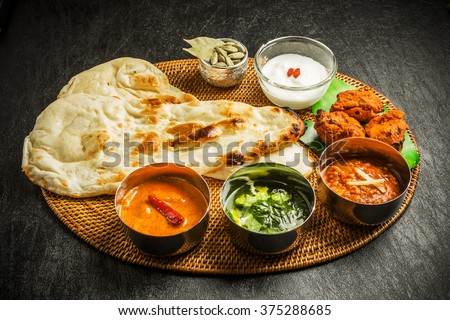 Indian dish curry lunch set - stock photo