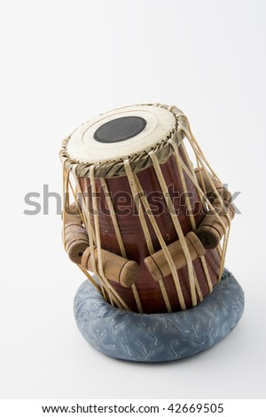 indian drum isolated on white background - stock photo