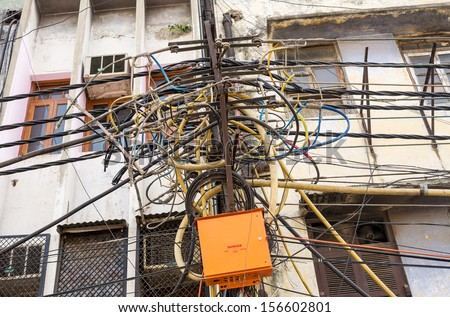 Indian Electricity Pole - stock photo