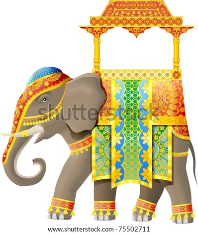 Indian elephant with luxury decoration.