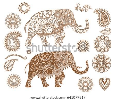 Indian Elephant With Mehendi Patterns Hand Drawn Isolated Ethnic Henna Illustration