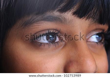 Indian eyes closeup, girl - stock photo