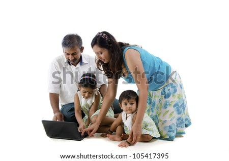 indian family learning - stock photo