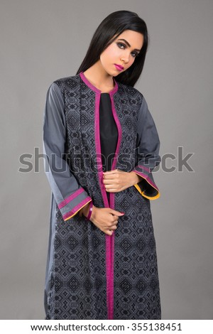 Indian female Fashion Model posing for eastern Clothes - stock photo
