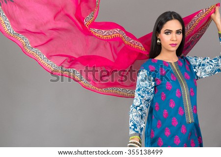 Indian female Fashion Model posing for eastern Clothes