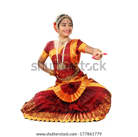 Indian female performing Bharathanatyam doing the action of  hasya / laughter or mirth - stock photo