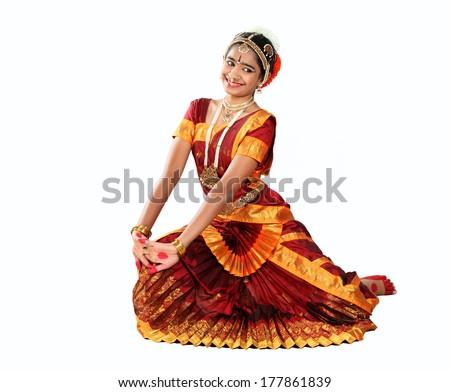 Indian female performing Bharathanatyam doing the action of joy - stock photo