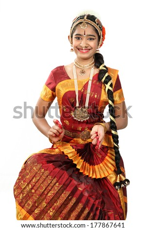 Indian female performing Bharathanatyam doing the action of  lord  Parvathy - stock photo