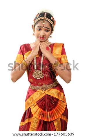 Indian female performing Bharathanatyam  doing the action of pity or karuna - stock photo