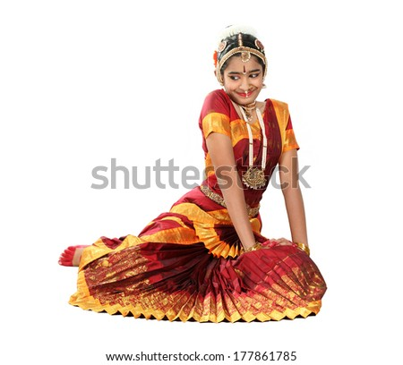 Indian female performing Bharathanatyam doing the action of  sringara or happiness and love - stock photo