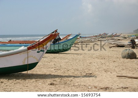 Indian fisher boat - stock photo