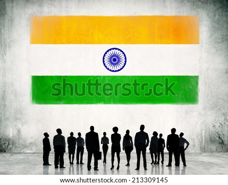 Indian Flag and a group of business people. - stock photo