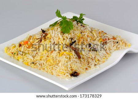 Indian food biryani rice or briyani rice, fresh cooked, indian dish. - stock photo