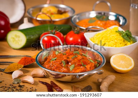 Indian food chicken jalfrezi curry balti stock photo safe to use indian food chicken jalfrezi curry in balti dish decoration set of vegetables forumfinder Choice Image