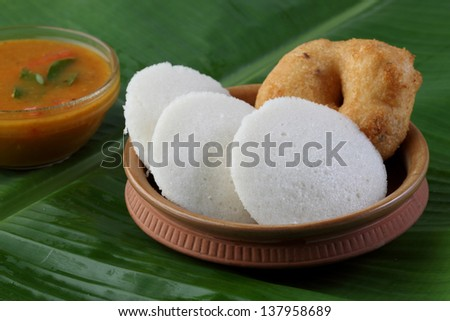 indian food ,idly vada - stock photo