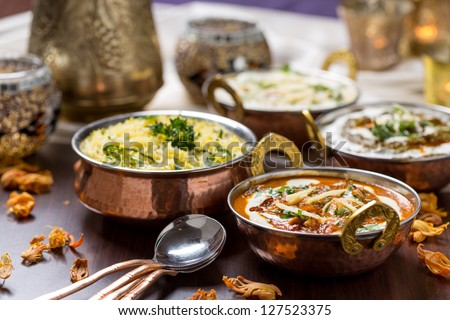 indian food in brass bowl - stock photo