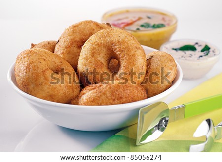 indian food,vada smbar - stock photo