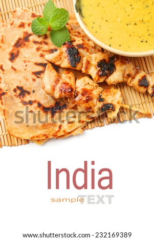 Indian foods Dal with Paratha,marinated chicken skewer isolated on white  - stock photo