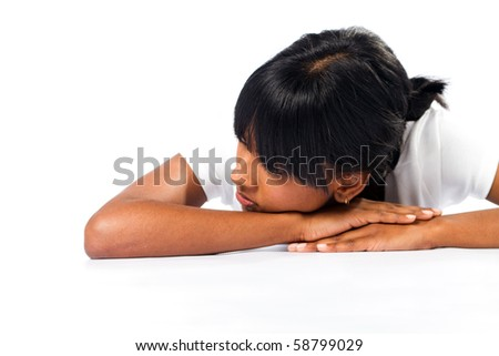indian girl daydreaming - stock photo