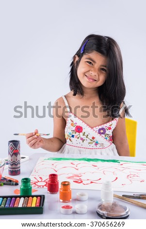 indian girl drawing, indian girl painting,asian girl colouring, paint brush and indian girl
