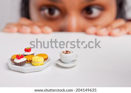 indian girl on a severe diet - stock photo