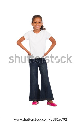 indian girl on white - stock photo