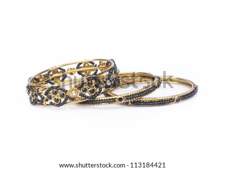 Indian Traditional Gold Bangles Stock Photo 113184481