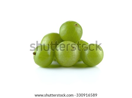 Indian gooseberries on white background.