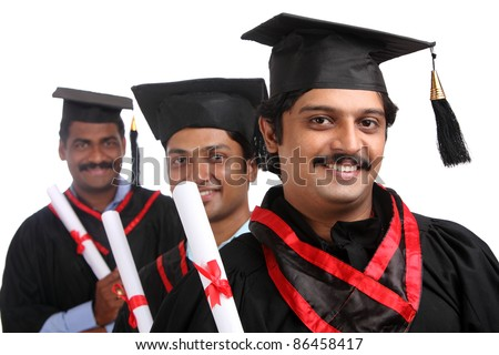 Indian graduates isolated on white background.
